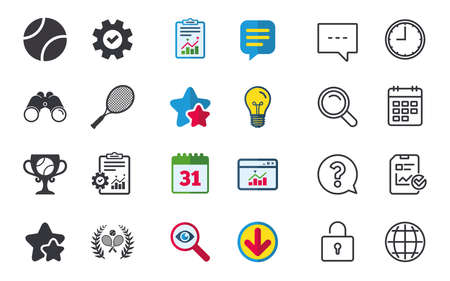 Tennis ball and rackets icons. Winner cup sign. Sport laurel wreath winner award symbol. Chat, Report and Calendar signs. Stars, Statistics and Download icons. Question, Clock and Globe. Vector