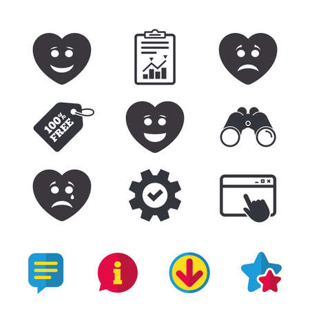 Heart smile face icons. Happy, sad, cry signs. Happy smiley chat symbol. Sadness depression and crying signs. Browser window, Report and Service signs. Binoculars, Information and Download icons Illusztráció