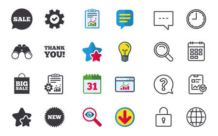 Sale speech bubble icon. Thank you symbol. New star circle sign. Big sale shopping bag. Chat, Report and Calendar signs. Stars, Statistics and Download icons. Question, Clock and Globe. Vector