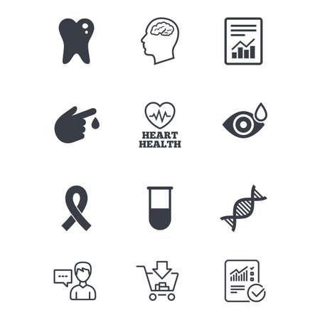 의학, 의료 건강 및 진단 아이콘입니다. 혈액 검사, dna 및 신경 징후. 치아, 기호를보고해라. 고객 서비스, 쇼핑 카트 및 보고서 라인 표지판. 온라인 쇼