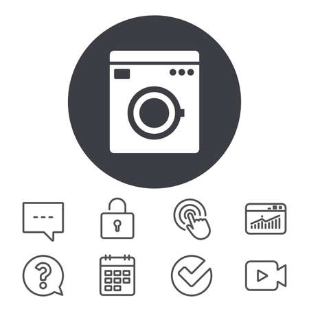 Washing machine icon. Home appliances symbol. Calendar, Locker and Speech bubble line signs. Video camera, Statistics and Question icons. Vector Illustration