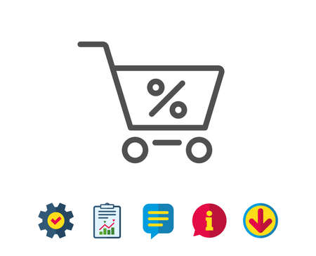 Shopping cart with Percentage line icon. Online buying sign. Supermarket basket symbol. Report, Service and Information line signs. Download, Speech bubble icons. Editable stroke. Vector