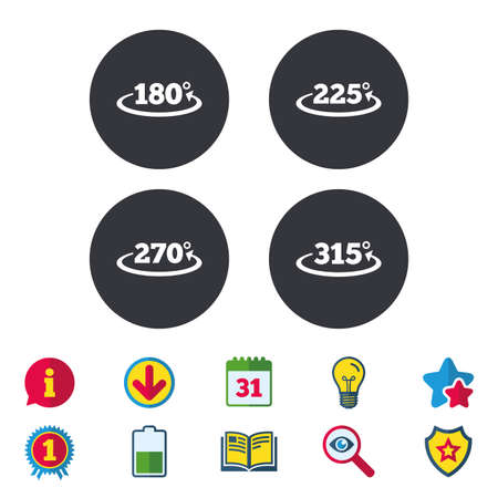 complete: Angle 180-315 degrees icons. Geometry math signs symbols. Full complete rotation arrow. Calendar, Information and Download signs. Stars, Award and Book icons. Light bulb, Shield and Search. Vector