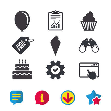 Birthday party icons. Cake with ice cream signs. Air balloon symbol. Browser window, Report and Service signs. Binoculars, Information and Download icons. Stars and Chat. Vector Illustration