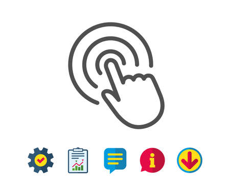 Hand Click line icon. Finger touch sign. Cursor pointer symbol. Report, Service and Information line signs. Download, Speech bubble icons. Editable stroke. Vector Illustration