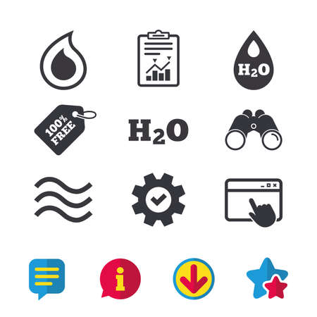 물 물 아이콘입니다. 눈물 또는 오일 드롭 기호. 브라우저 창, 보고서 및 서비스 표지판. 쌍안경, 정보 및 다운로드 아이콘. 별과 채팅. 벡터