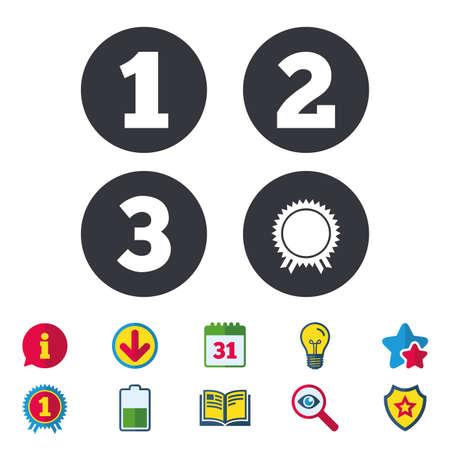 Primo, secondo e terzo posto icone. Medaglia del segno del premio. Calendario, informazioni e segni di download. Icone di stelle, premi e libri. Lampadina, scudo e ricerca. Vettore Archivio Fotografico - 81319307