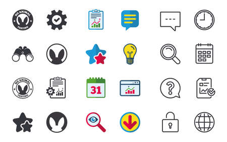 vertebrate: No animals testing icons. Non-human experiments signs symbols. Chat, Report and Calendar signs. Stars, Statistics and Download icons. Question, Clock and Globe. Vector