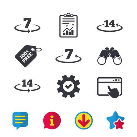 Teruggave van goederen binnen 7 of 14 dagen pictogrammen. Garantie 2 weken wisselsymbolen. Browservenster, rapport en serviceborden. Verrekijker, informatie en download pictogrammen. Sterren en chatten. Vector Stock Illustratie
