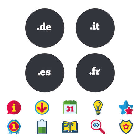 Top-level internet domain icons. De, It, Es and Fr symbols. Unique national DNS names. Calendar, Information and Download signs. Stars, Award and Book icons. Light bulb, Shield and Search. Vector Illustration