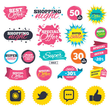 Sale shopping banners. Hipster photo camera icon. Like and Chat speech bubble sign. Hand thumb up. Bird symbol. Web badges, splash and stickers. Best offer. Vector