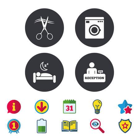 Hoteldiensten pictogrammen. Wasmachine of wasbord. Kapper of herenkapper symbool. Ontvangstregistratietabel. Rustige slaap. Kalender, informatie en downloadborden. Vector