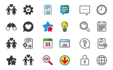 Couple love icon. Lesbian and Gay lovers signs. Romantic homosexual relationships. Speech bubble with heart symbol. Chat, Report and Calendar signs. Stars, Statistics and Download icons. Vector Illusztráció
