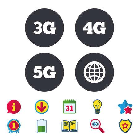 Icônes de télécommunications mobiles. Symboles de technologie 3G, 4G et 5G. Signe du monde entier. Calendrier, informations et panneaux de téléchargement. Étoiles, prix et icônes de livre. Ampoule, Bouclier et Recherche. Vecteur