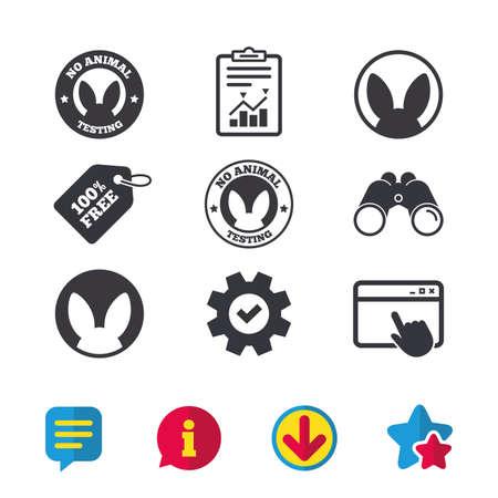 동물 테스트 아이콘이 없습니다. 비인간적 실험은 기호에 서명합니다. 브라우저 창, 보고서 및 서비스 표지판. 쌍안경, 정보 및 다운로드 아이콘. 별과