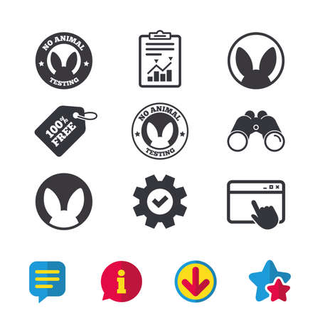 Geen dieren die pictogrammen testen. Niet-menselijke experimenten tekenen symbolen. Browservenster, rapport en serviceborden. Verrekijker, informatie en download pictogrammen. Sterren en chatten. Vector Stock Illustratie