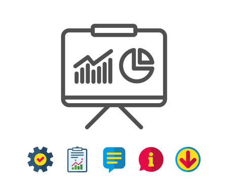 Presentation board line icon. Report chart or Sales growth sign. Analysis and Statistics data symbol. Report, Service and Information line signs. Download, Speech bubble icons. Editable stroke. Vector