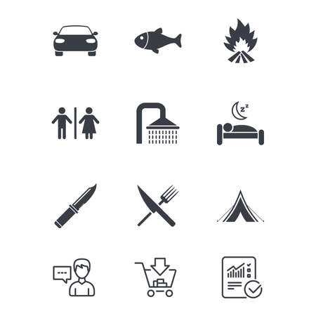 Hiking travel icons. Camping, shower and wc toilet signs. Tourist tent, fork and knife symbols. Customer service, Shopping cart and Report line signs. Online shopping and Statistics. Vector