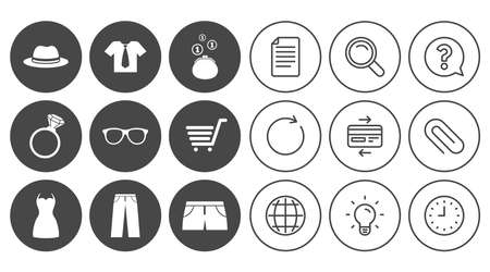 Clothes, accessories icons. Shirt, glasses and hat signs. Wallet with cash coins symbols. Document, Globe and Clock line signs. Lamp, Magnifier and Paper clip icons. Question, Credit card and Refresh