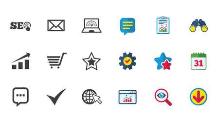 インターネット、seo アイコン。ダニ、オンライン ショッピングとチャートのサイン。帯域幅、モバイル デバイスおよびチャット記号。カレンダー  イラスト・ベクター素材
