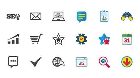Internet, seo icons. Tick, online shopping and chart signs. Bandwidth, mobile device and chat symbols. Calendar, Report and Download signs. Stars, Service and Search icons. Vector