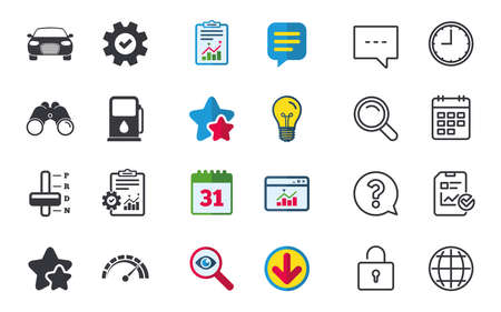 Vervoer pictogrammen. Autotachometer en symbolen voor automatische transmissie. Benzinestation of tankstation. Chat-, rapport- en kalenderborden. Sterren, Statistieken en Download pictogrammen. Vraag, klok en wereld. Vector