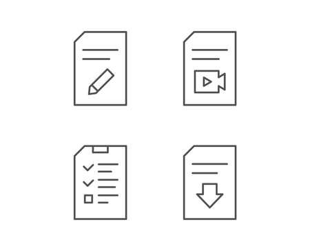 Document, Checklist and Download file line icons. Document Management, Edit document and Video file signs. Quality design elements. Editable stroke. Vector