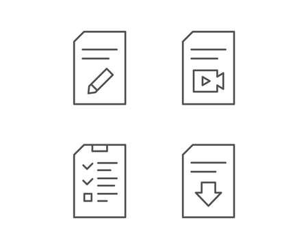 Document, Checklist and Download file line icons. Document Management, Edit document and Video file signs. Quality design elements. Editable stroke. Vector Banco de Imagens - 81302855