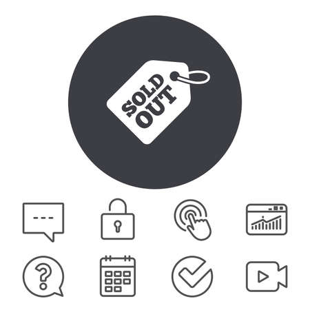 Sold out tag icon. Shopping message sign. Special offer banner symbol. Calendar, Locker and Speech bubble line signs. Video camera, Statistics and Question icons. Vector