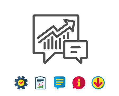 Chart line icon. Report graph or Sales growth sign in speech bubble. Analysis and Statistics data symbol. Report, Service and Information line signs. Download, Speech bubble icons. Editable stroke Illustration