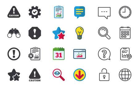 Aandacht Let op pictogrammen. Waarschuwingssymbolen voor gevaren. Uitroep teken. Chat-, rapport- en kalenderborden. Sterren, Statistieken en Download pictogrammen. Vraag, klok en wereld. Vector
