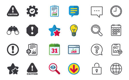 Attention caution icons. Hazard warning symbols. Exclamation sign. Chat, Report and Calendar signs. Stars, Statistics and Download icons. Question, Clock and Globe. Vector