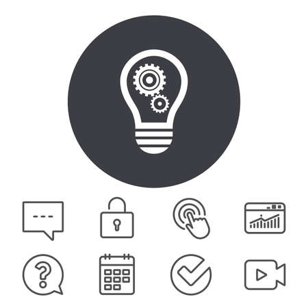 Light lamp sign icon. Bulb with gears and cogs symbol. Idea symbol. Calendar, Locker and Speech bubble line signs. Video camera, Statistics and Question icons. Vector