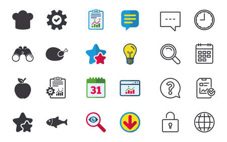 Food icons. Apple fruit with leaf symbol. Chicken hen bird meat sign. Fish and Chef hat icons. Chat, Report and Calendar signs. Stars, Statistics and Download icons. Question, Clock and Globe. Vector