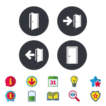 Doors icons. Emergency exit with arrow symbols. Fire exit signs. Calendar, Information and Download signs. Stars, Award and Book icons. Light bulb, Shield and Search. Vector Illustration