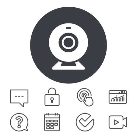 Webcam sign icon. Web video chat symbol. Camera chat. Calendar, Locker and Speech bubble line signs. Video camera, Statistics and Question icons. Vector