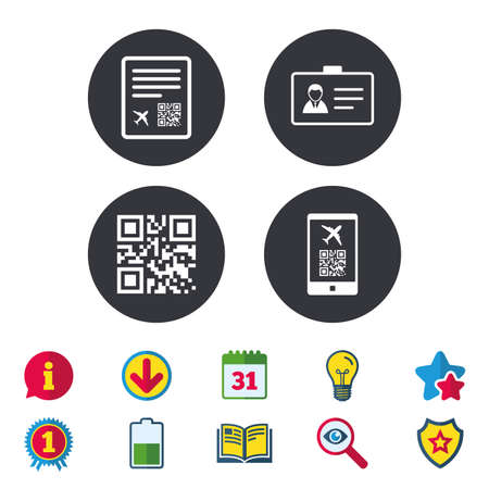 QR scan code in smartphone icon. Boarding pass flight sign. Identity ID card badge symbol. Calendar, Information and Download signs. Stars, Award and Book icons. Light bulb, Shield and Search. Vector