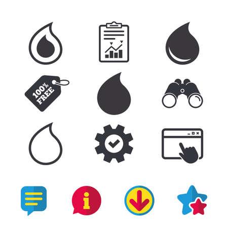 워터 드롭 아이콘입니다. 눈물 또는 오일 드롭 기호. 브라우저 창, 보고서 및 서비스 표지판. 쌍안경, 정보 및 다운로드 아이콘. 별과 채팅. 벡터