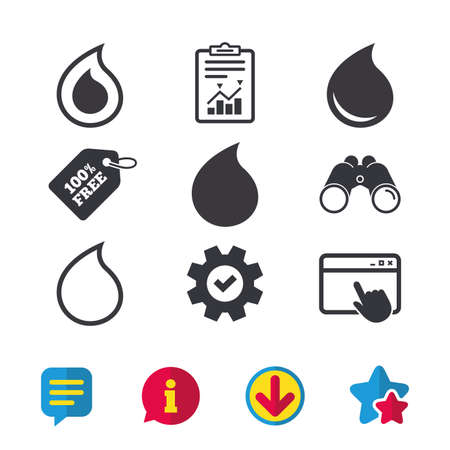 Water drop icons. Tear or Oil drop symbols. Browser window, Report and Service signs. Binoculars, Information and Download icons. Stars and Chat. Vector