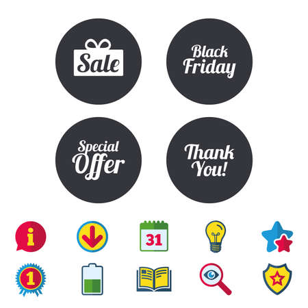 you are special: Sale icons. Special offer and thank you symbols. Gift box sign. Calendar, Information and Download signs. Stars, Award and Book icons. Light bulb, Shield and Search. Vector Illustration