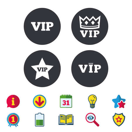 VIP icons. Very important person symbols. King crown and star signs. Calendar, Information and Download signs. Stars, Award and Book icons. Light bulb, Shield and Search. Vector