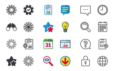 Snowflakes artistic icons. Air conditioning signs. Christmas and New year winter symbols. Chat, Report and Calendar signs. Stars, Statistics and Download icons. Question, Clock and Globe. Vector Illustration