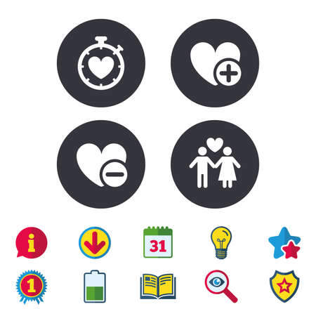 Valentine day love icons. Love heart timer symbol. Couple lovers sign. Add new love relationship. Calendar, Information and Download signs. Stars, Award and Book icons. Light bulb, Shield and Search Иллюстрация