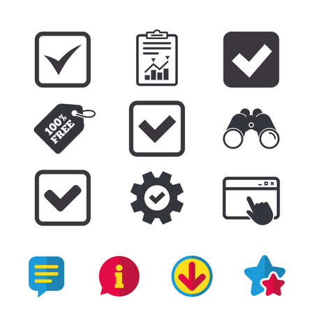 Check icons. Checkbox confirm squares sign symbols. Browser window, Report and Service signs. Binoculars, Information and Download icons. Stars and Chat. Vector Çizim