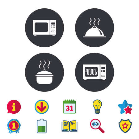 Microwave grill oven icons. Cooking pan signs. Food platter serving symbol. Calendar, Information and Download signs. Stars, Award and Book icons. Light bulb, Shield and Search. Vector Illustration
