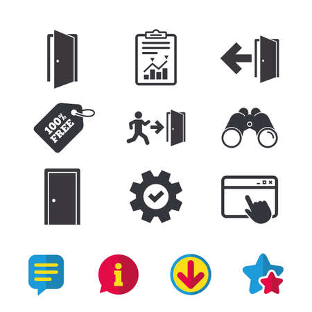 Doors icons. Emergency exit with human figure and arrow symbols. Fire exit signs. Browser window, Report and Service signs. Binoculars, Information and Download icons. Stars and Chat. Vector