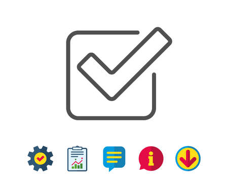 Check line icon. Approved Tick sign. Confirm, Done or Accept symbol. Report, Service and Information line signs. Download, Speech bubble icons. Editable stroke. Vector