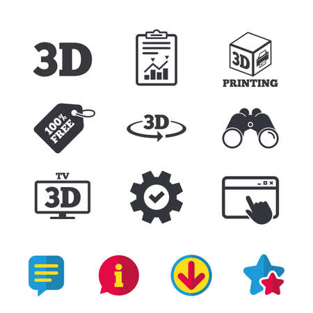 3d technology icons. Printer, rotation arrow sign symbols. Print cube. Browser window, Report and Service signs. Binoculars, Information and Download icons. Stars and Chat. Vector