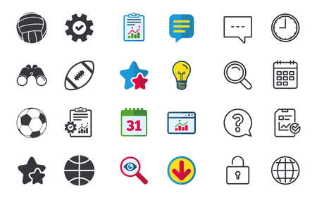 Sport balls icons. Volleyball, Basketball, Soccer and American football signs. Team sport games. Chat, Report and Calendar signs. Stars, Statistics and Download icons. Question, Clock and Globe Stock Vector - 81302876