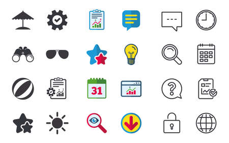 Beach holidays icons. Ball, umbrella and sunglasses signs. Summer sun symbol. Chat, Report and Calendar signs. Stars, Statistics and Download icons. Question, Clock and Globe. Vector Illustration